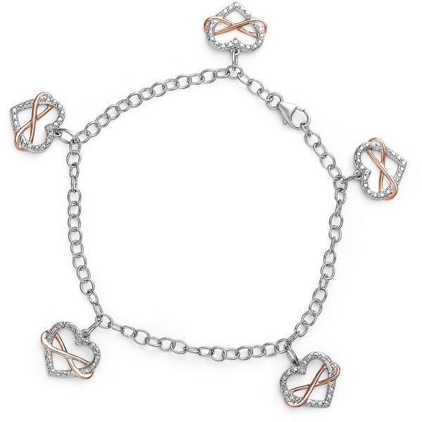 Womens White Diamond Sterling Silver Charm Bracelet ($87) ❤ liked on Polyvore featuring jewelry, bracelets, sterling silver jewellery, charm bracelet, sterling silver charm bracelet, sterling silver bangles and sterling silver jewelry