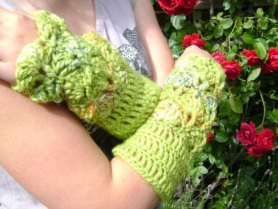 Mittens Cuffs Handwarmers crochet elegant green door AnnemiekeA, $30.00