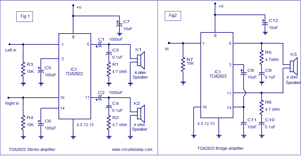 Swell Tda2822 Audio Amplifier Circuit 1 35W Into 4 Ohm Speaker 6V Wiring Digital Resources Anistprontobusorg