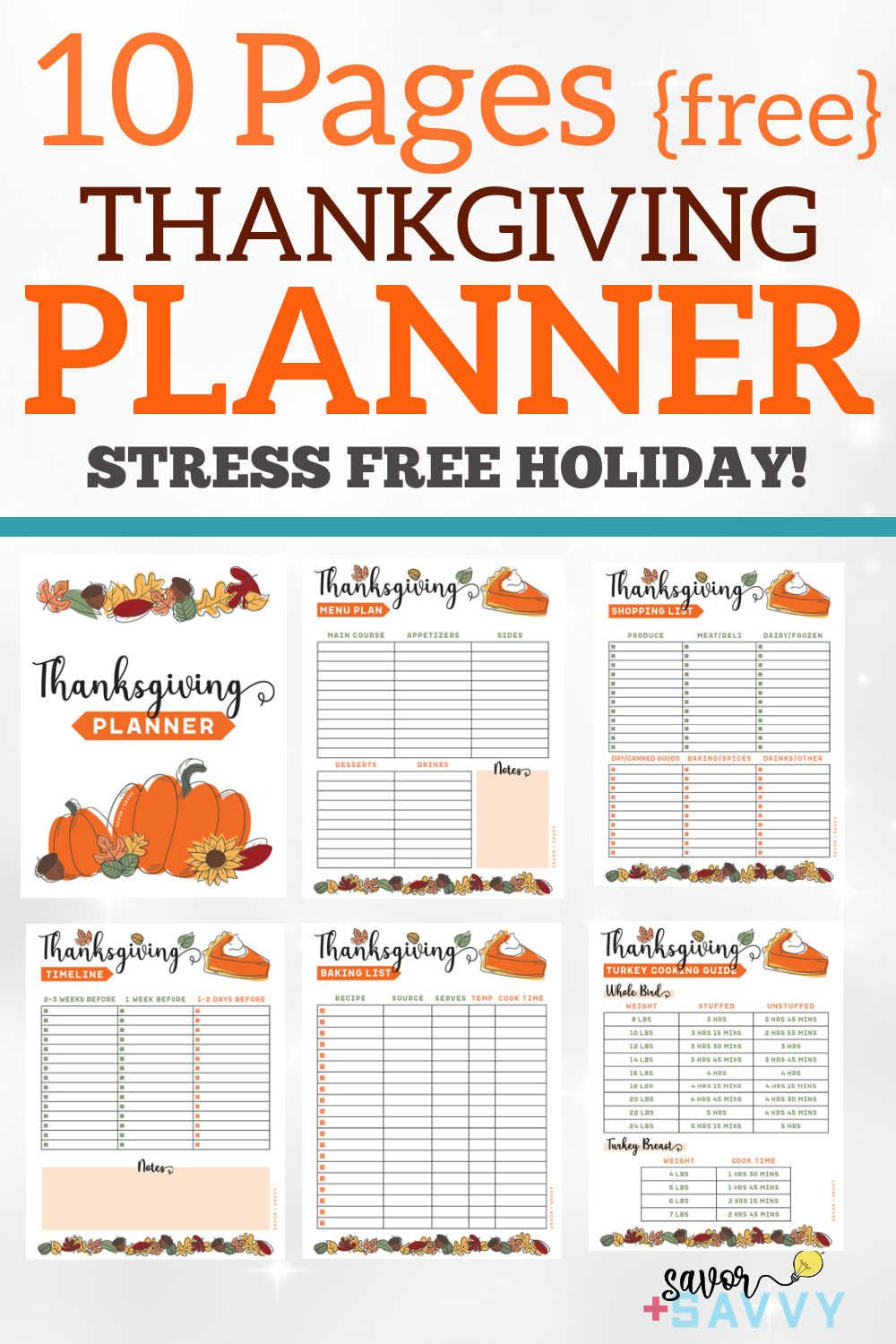 Organize Your Thanksgiving Meal With This Printable Planner In 2020 Thanksgiving Planner Printable Planner Stress Free Thanksgiving