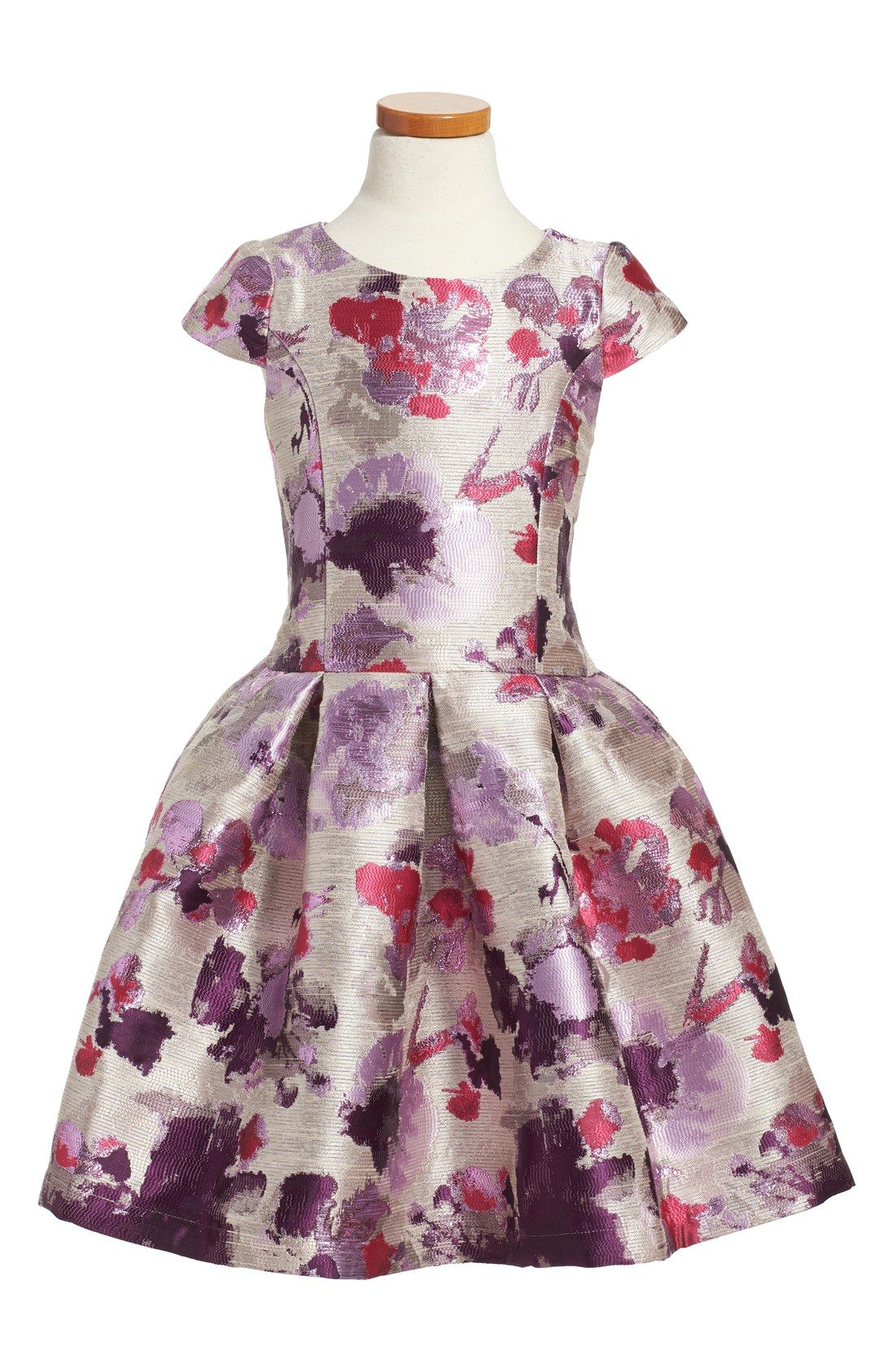 Zoë LTD 'Purple Haze' Floral Print Cap Sleeve Brocade Dress (Big Girls) #easter #party #birthday #wedding #tween #teen