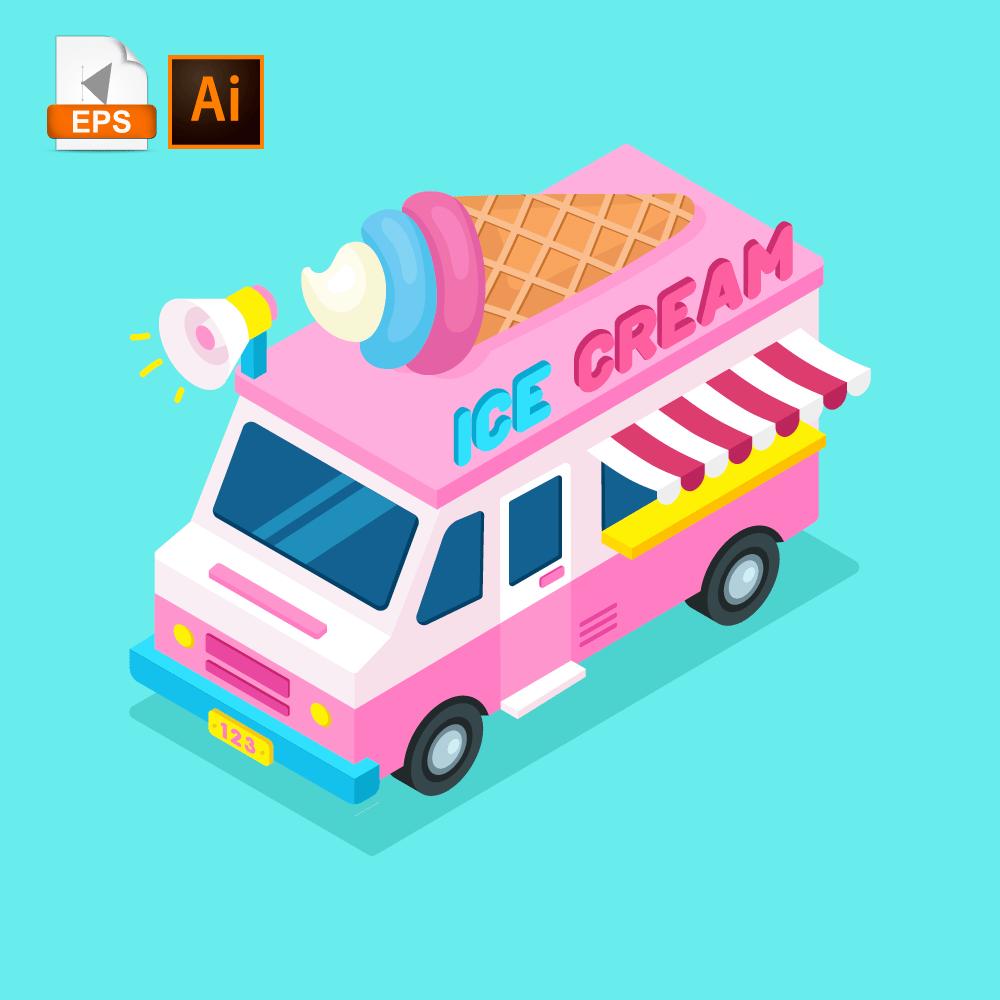 Ice Cream Truck Concept Isoflat In 2020 Ice Cream Truck Isometric Design Isometric