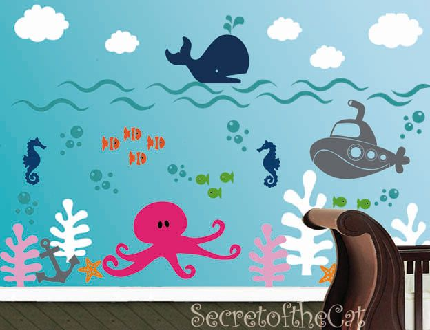 Nursery Decal   Ocean World Vinyl Decal   Children Decal   Wall Sticker   Wall Vinyl