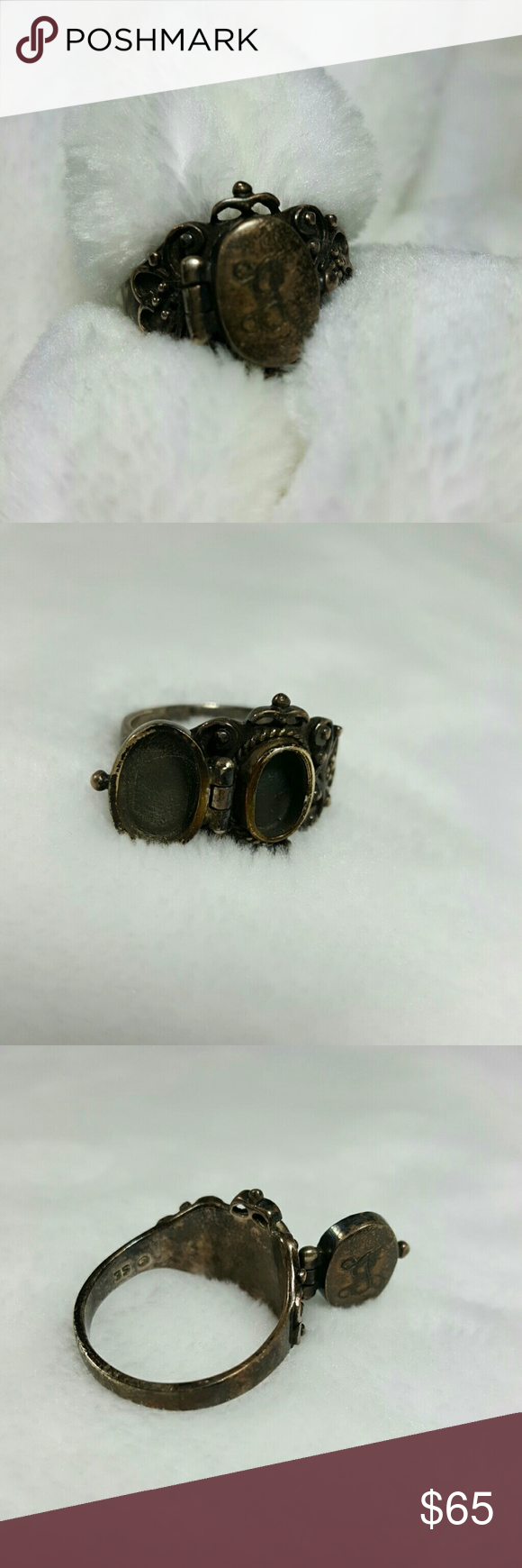 Vintage Poison Sterling Silver Ring Silver Poison Ring Oval  Filigree Romantic Pillbox Hinged Locket Compartment  Vintage Sterling Silver 925 Sturdy Ring Opens and Closes  J Engraved Jewelry Rings