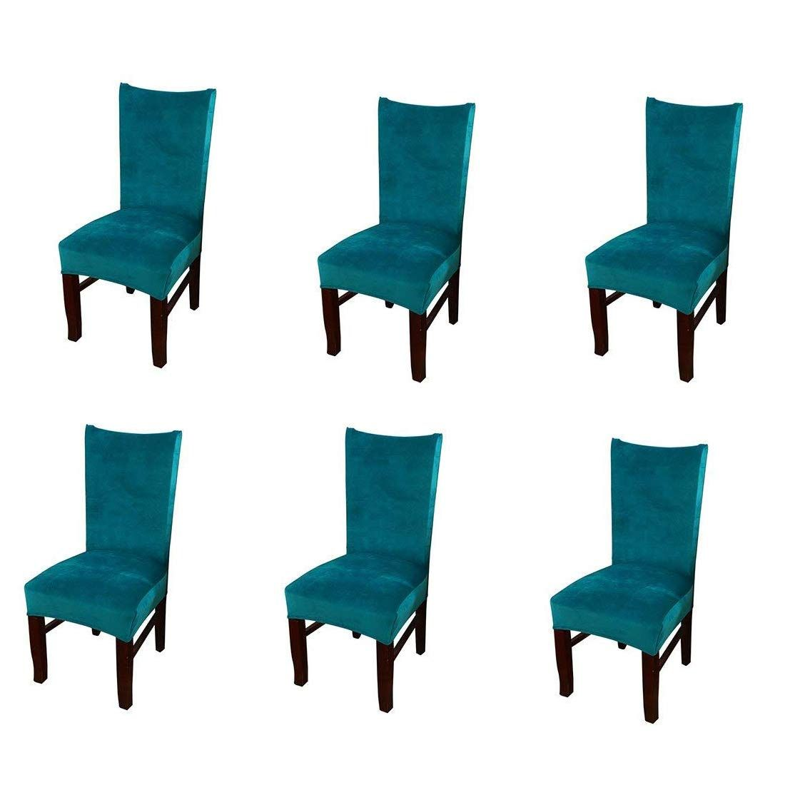 Pinji 6pcs Stretch Chair Cover Thicken Removable Short Dining Room Protector Seat Slipcover Peacock Blu Chair Stretch Chair Covers Dining Room Chair Slipcovers