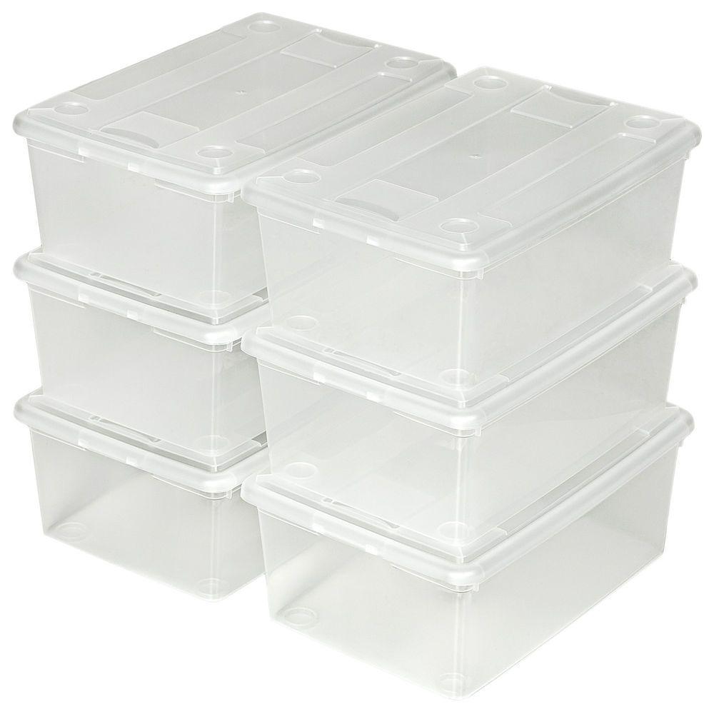 Brandneu 6er Set Schuhbox mit Deckel stapelbar Aufbewahrungsbox  PG39