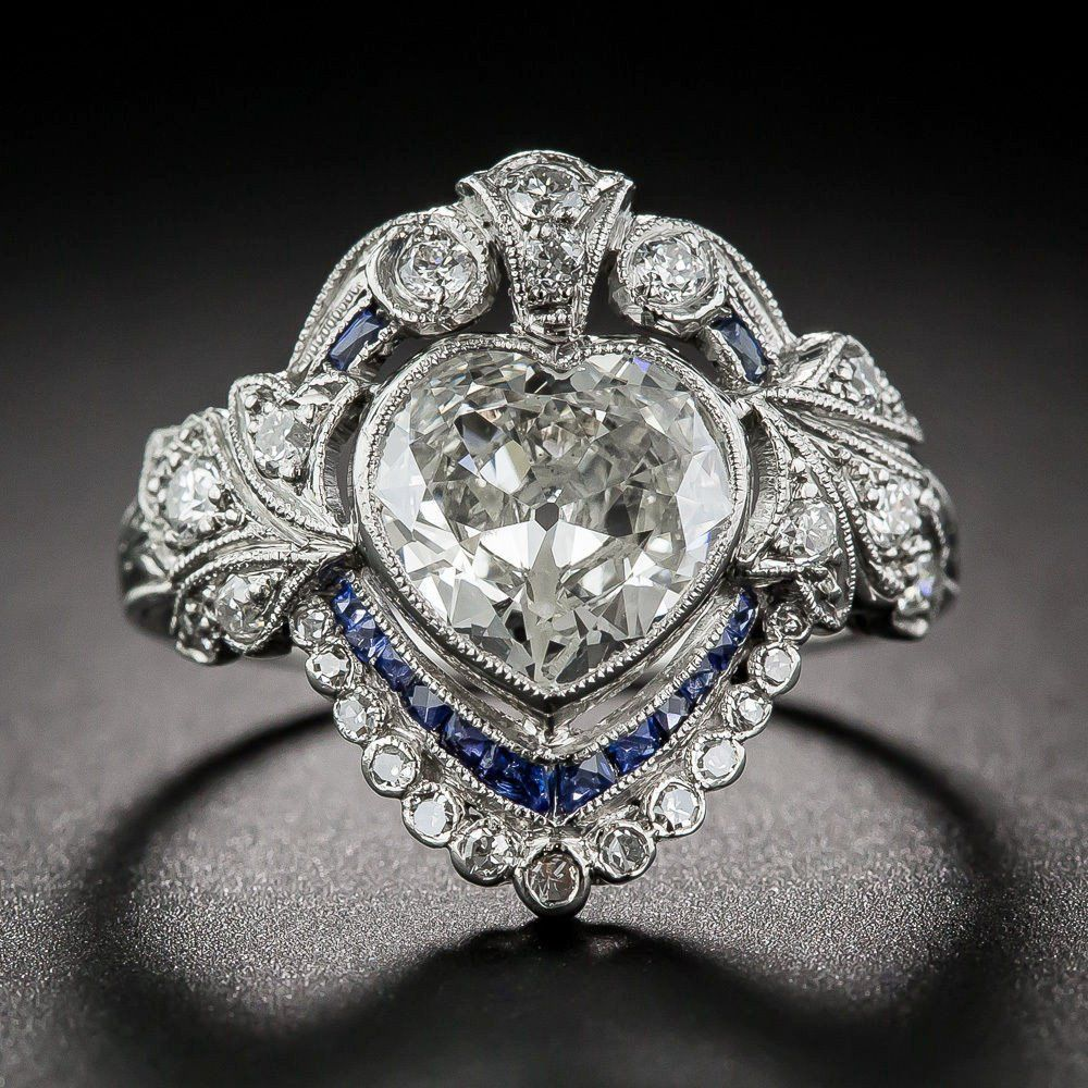 A Museum Perfect 27ct Heart Cut Russian Lab Diamond Blue Sapphire  Engagement Promise Wedding Ring