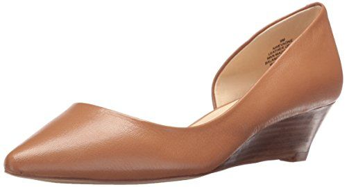 Nine West Women's Evadne Leather Wedge Pump, Dark Natural-$70.99