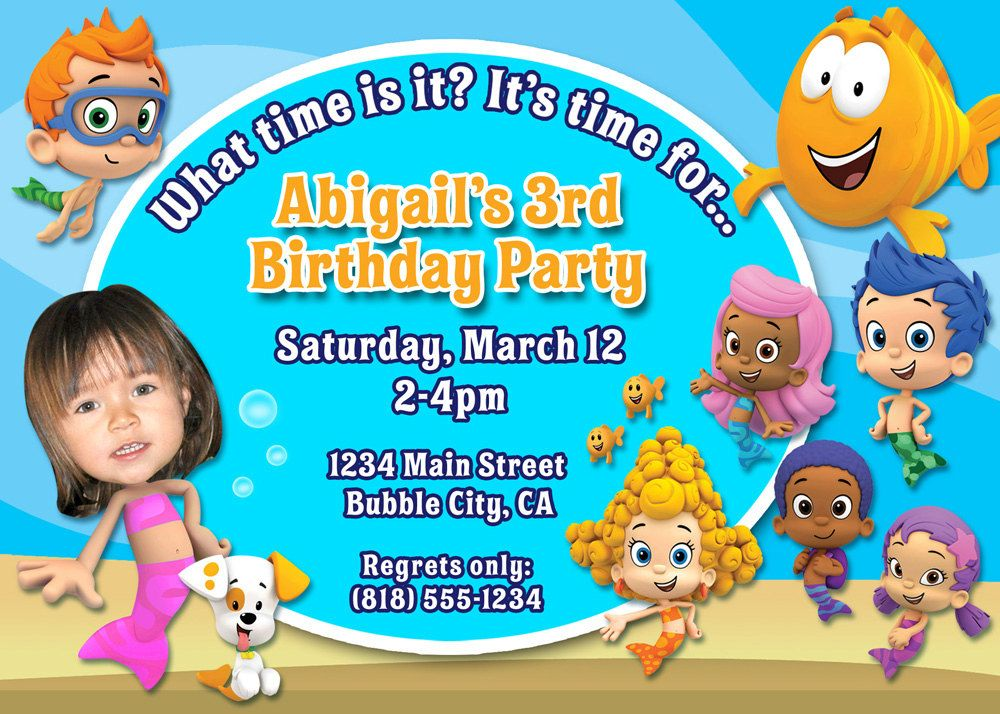 Bubble Guppies Birthday Party Invitation with your childs photo