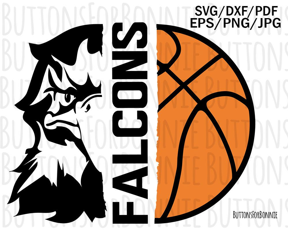 Falcons Mascot Basketball Svg Falcons Basketball Basketball Etsy Basketball Shirts Eagles Basketball Mom