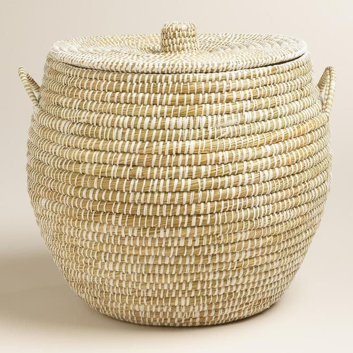 Large White Round Piper Tote Basket With Lid Large Basket With Lid Storage Baskets With Lids Basket