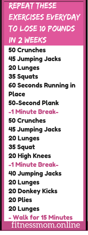 Use these exercises everyday to lose 10 pounds in 2 weeks.  #lose10poundsin2weeks #lose10poundsin2we...
