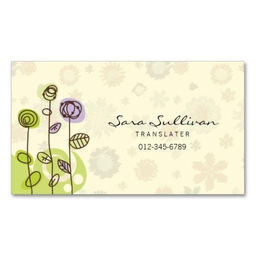 Translator Business Card Doodle Line Flowers Business Cards And - Substitute teacher business card template