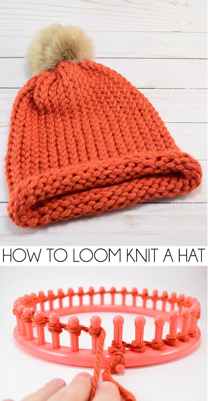 How To Loom Knit A Cap E Wrap Method Loom Knitting