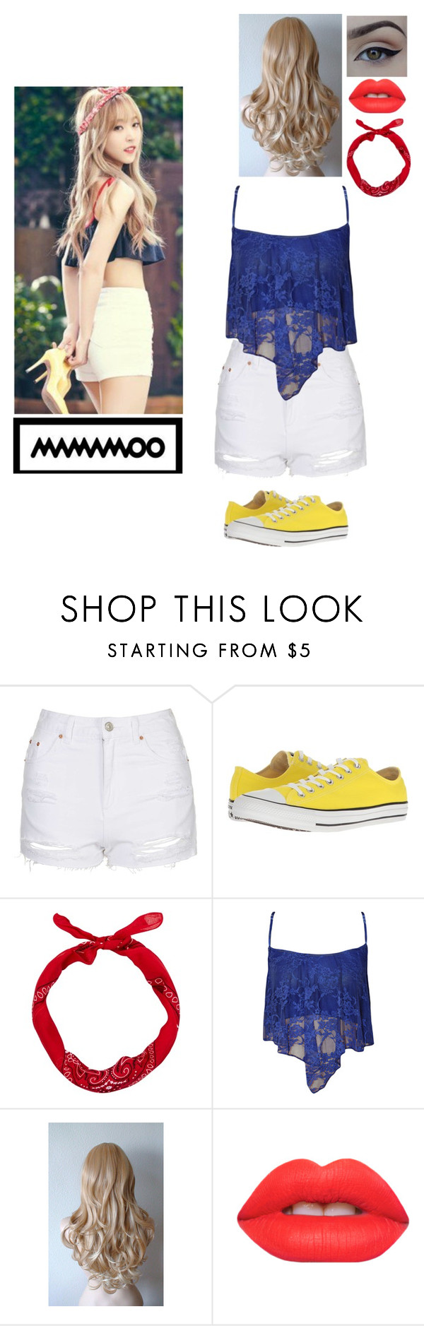 """""""MAMAMOO Inspired Outfits #3: Moonbyul"""" by nikkie-fen ❤ liked on Polyvore featuring Topshop, Converse, WearAll and Lime Crime"""