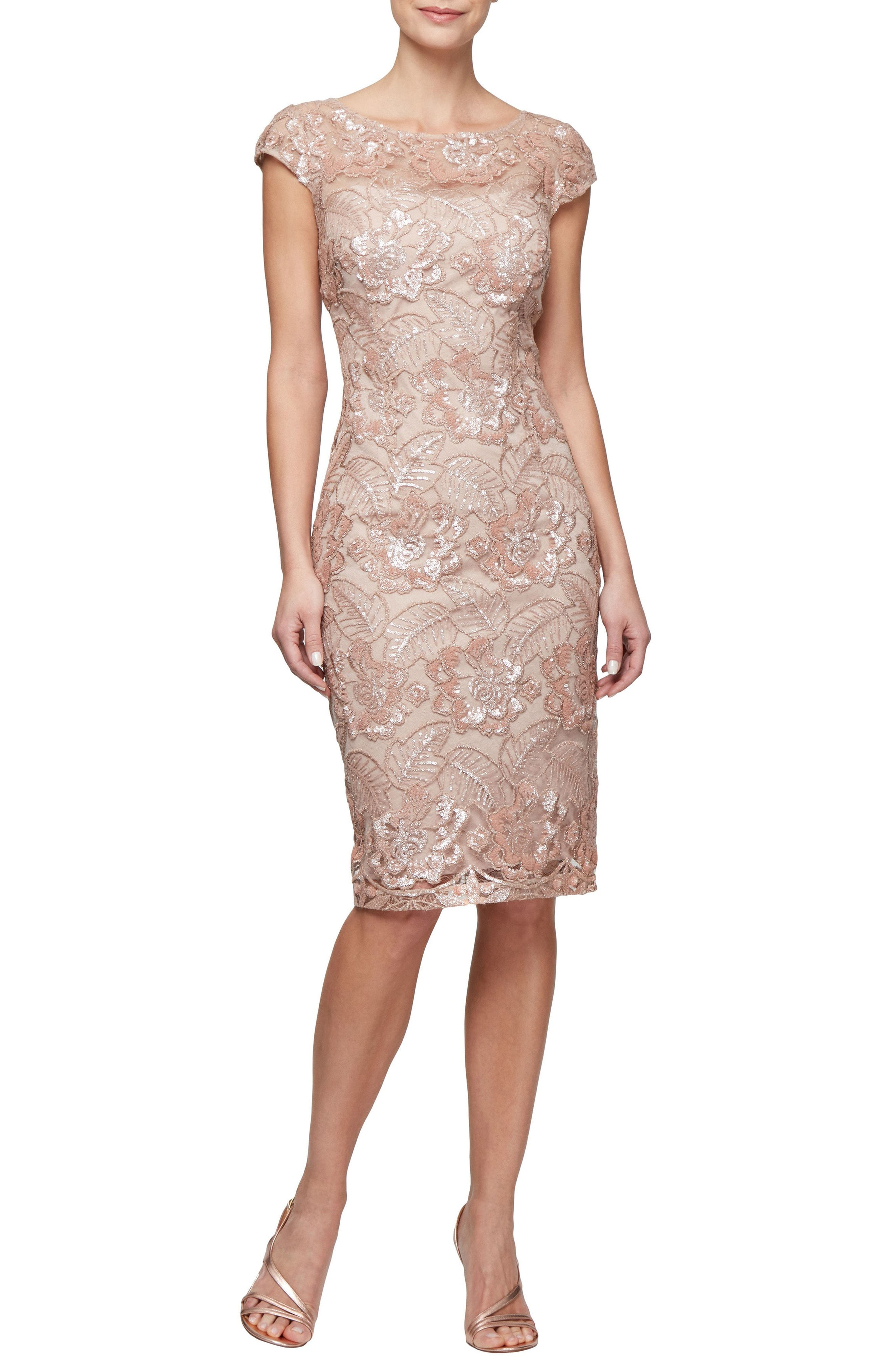 d5360dcbb9e Rose gold lace sheath dress with short sleeves for Mother of the Bride   motherofthebride  affiliate  rosegold