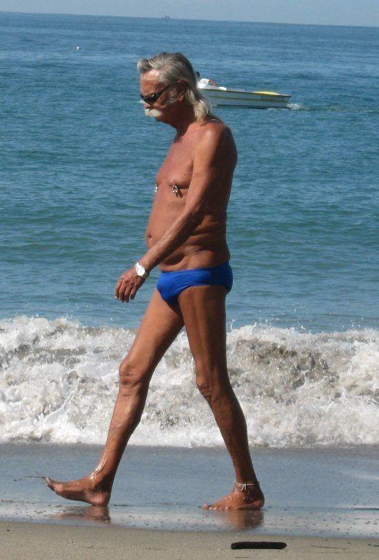 Grandpa Goes Walking on the Beach - Speedo Bathing Suit Pierced Nipples  Fail ---- best hilarious jokes funny pictures walmart humor fail