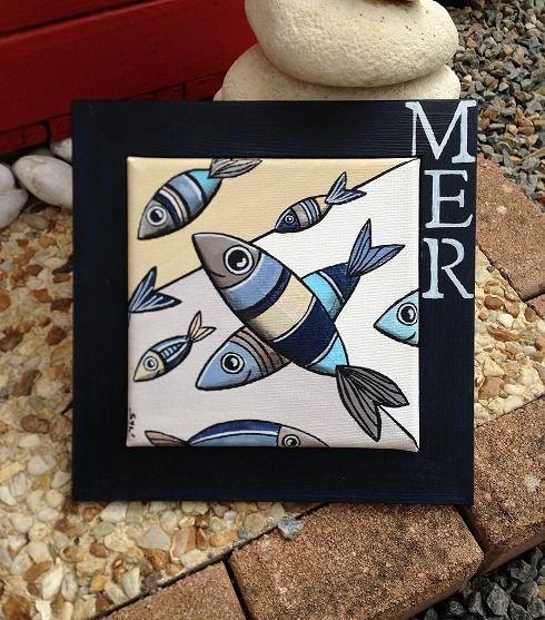 Mer tableau de poissons l 39 acrylique bois flotte deco for Deco poisson bois