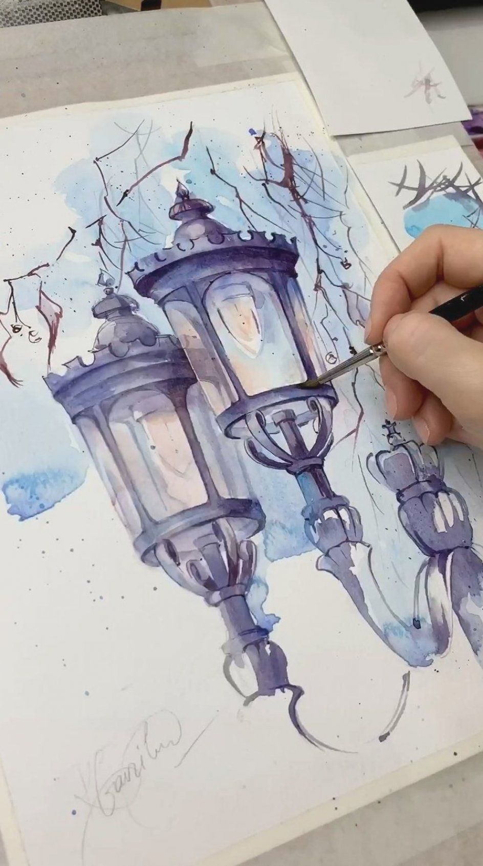 The original watercolor drawing The lanterns in London city   Etsy -   - #AbstractPaintings #ArtHistory #City #drawing #Etsy #lanterns #london #original #watercolor #WatercolorPainting
