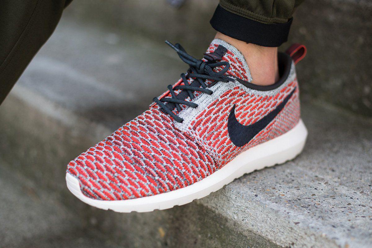 "buy popular fed10 322fe Nike Flyknit Roshe Run NM ""Red   Grey"""