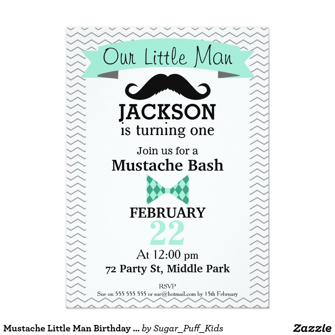 Mustache Little Man Birthday Party Invitation | Kids Corner ...