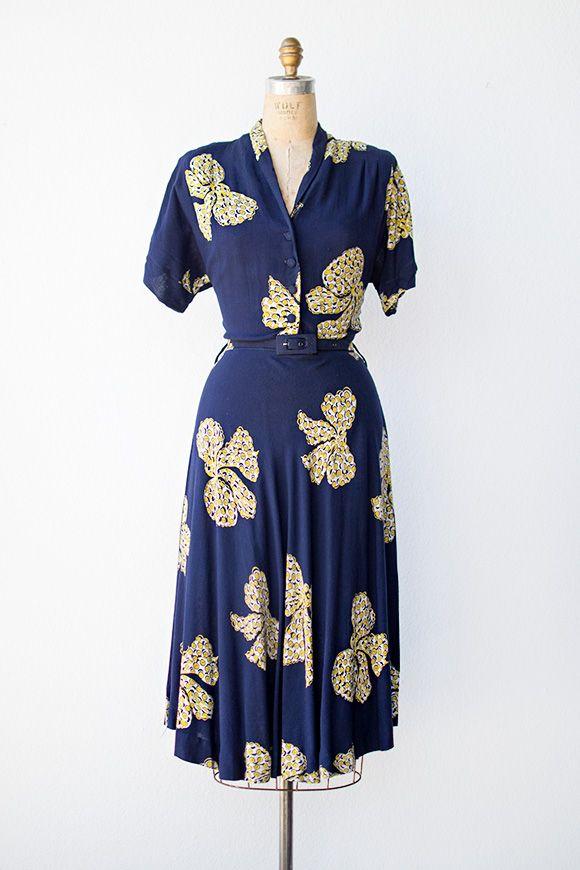 vintage 1940s navy blue novelty buttons bows print dress