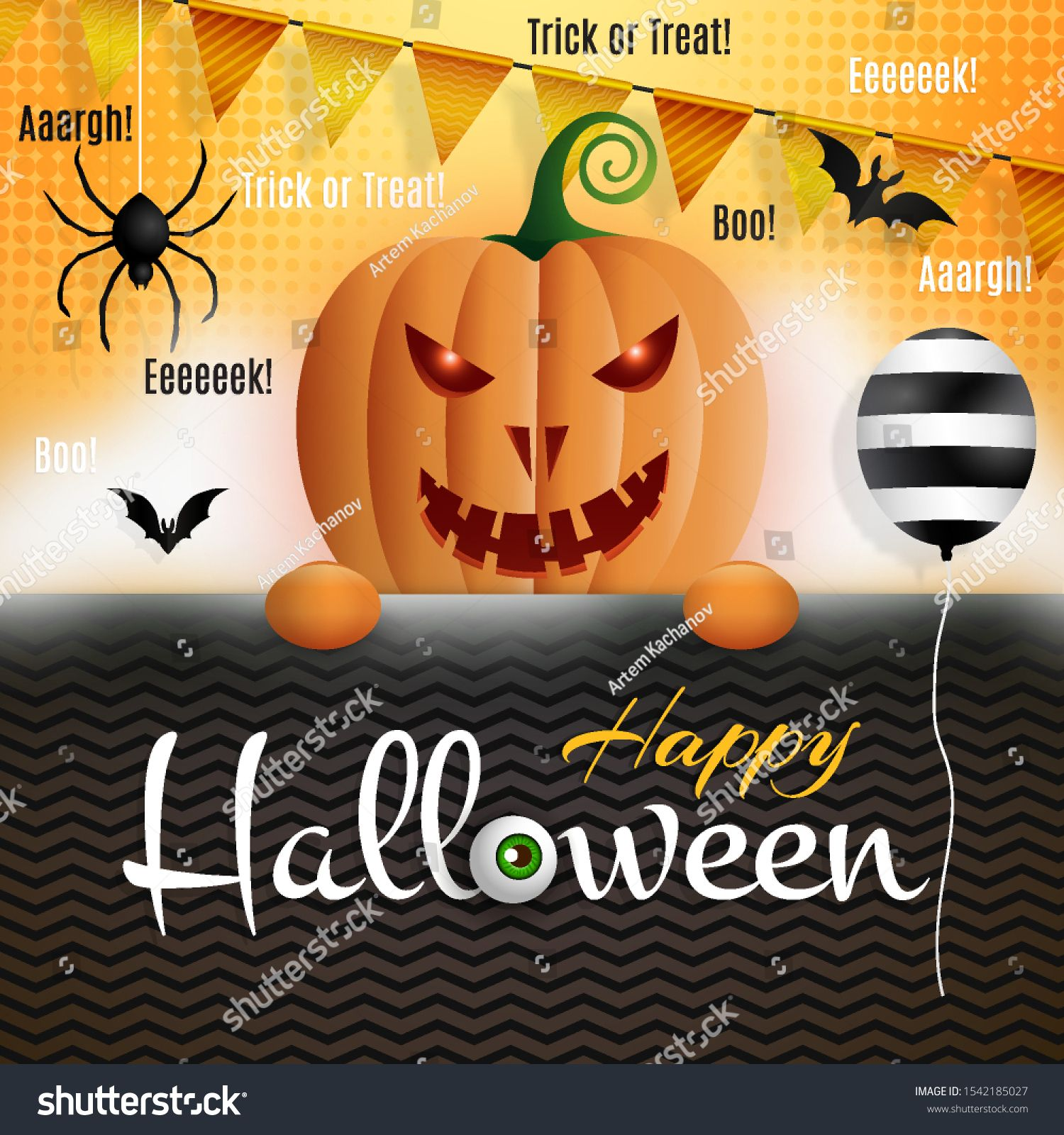 Happy Halloween Colorful template for holiday advertising card flyer poster banner Decorated scary pumpkin character balloon spider bat flags smoke and holiday message