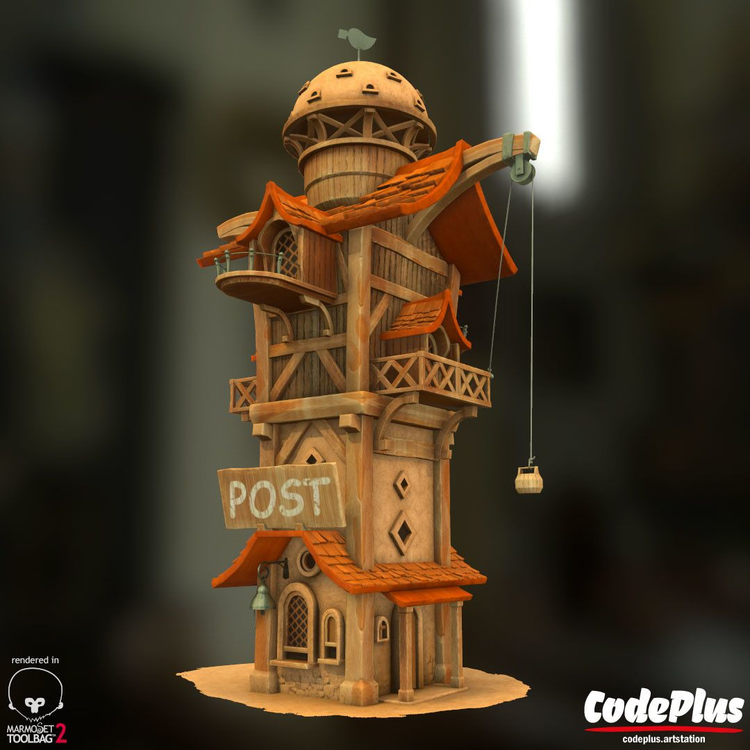Cool stylised Post office, by @hamidrezaafshar - https://goo.gl/UtY2hY #SubstancePainter #ThisIsSubstance