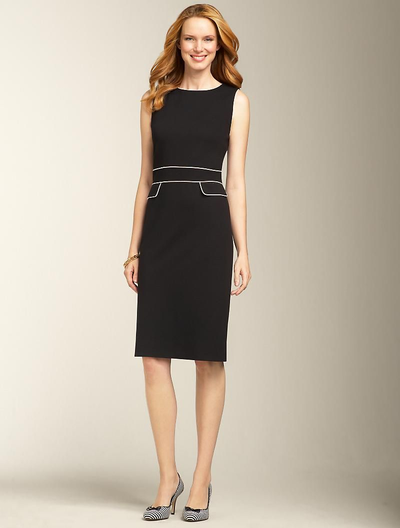 Talbots Piped Refined Ponte Knit Dress Dresses