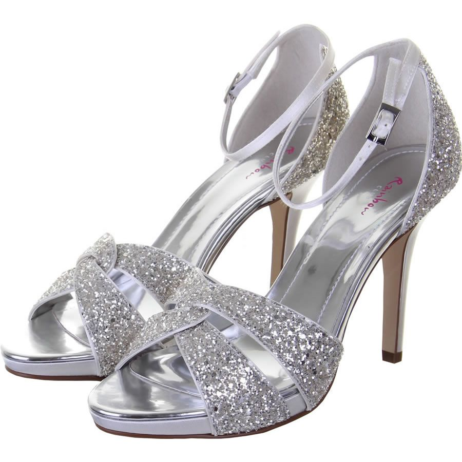 98a07ed40f8 Charlotte Silver Shimmer Sandal Shoes Satin Wedding Shoes