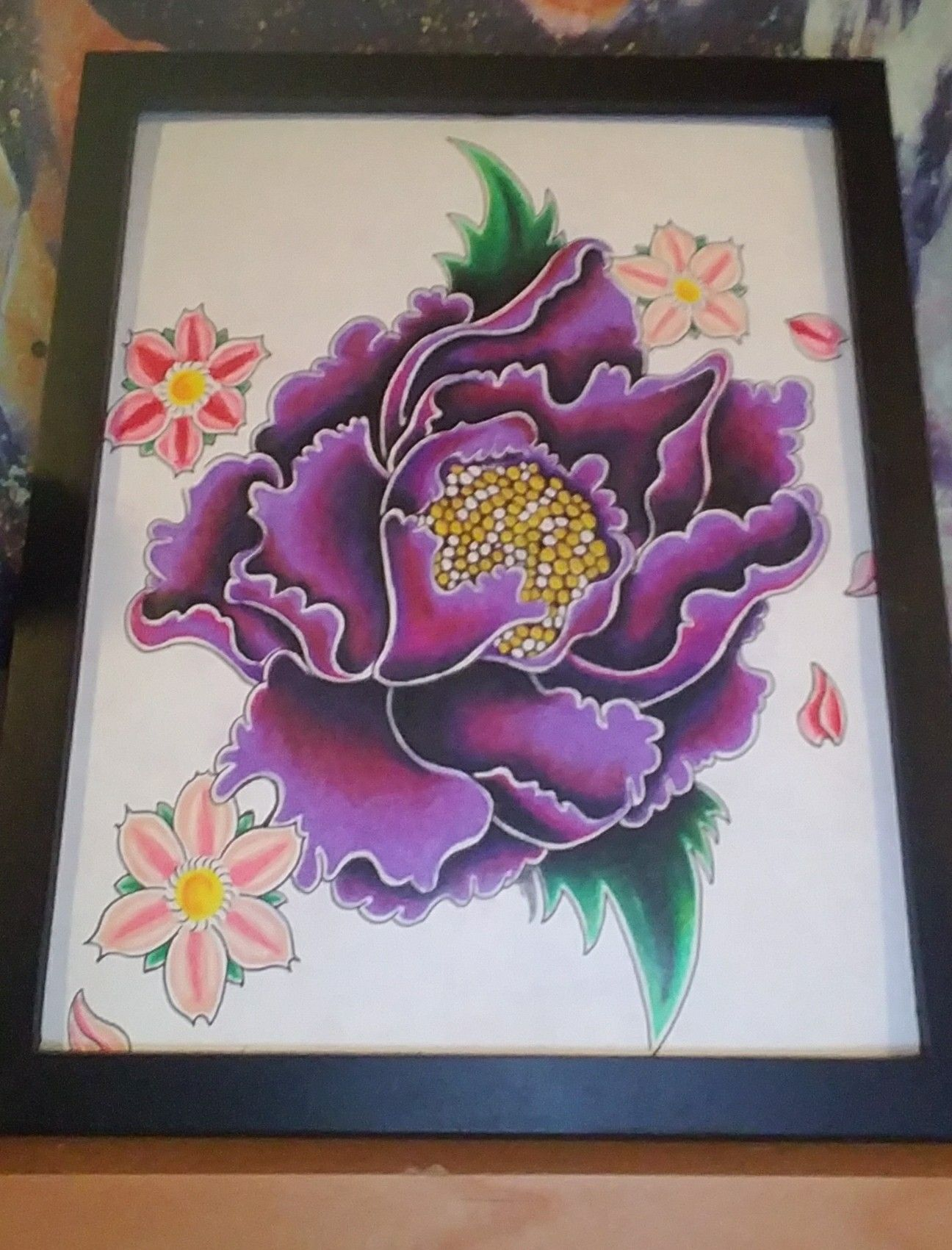 Rich Purple Lotus Flower Drawing Drawn And Colored With Prisma