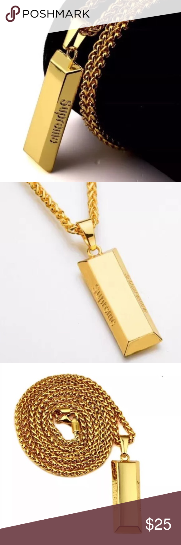SUPREME Gold Bar Brick Necklace 18K Plated Supreme Gold Bar Brick Necklace 18K Plated. High quality reproduction. Unisex! Feel free to comment with questions and send offers my way! No trades. Supreme Accessories Jewelry