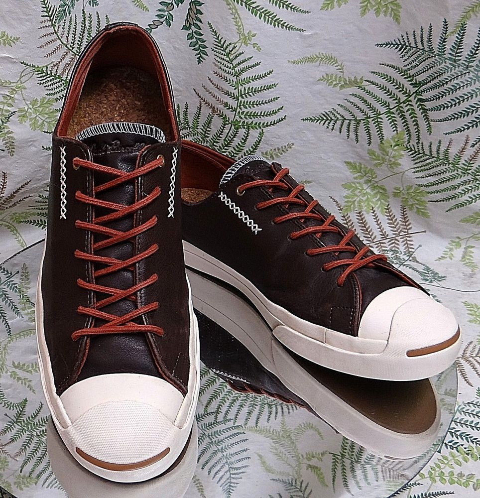 f56ae5c87bd6 CONVERSE JACK PURCELL BROWN LEATHER SNEAKERS SKATEBOARDING SHOES US MENS SZ  10  Converse  CasualShoes