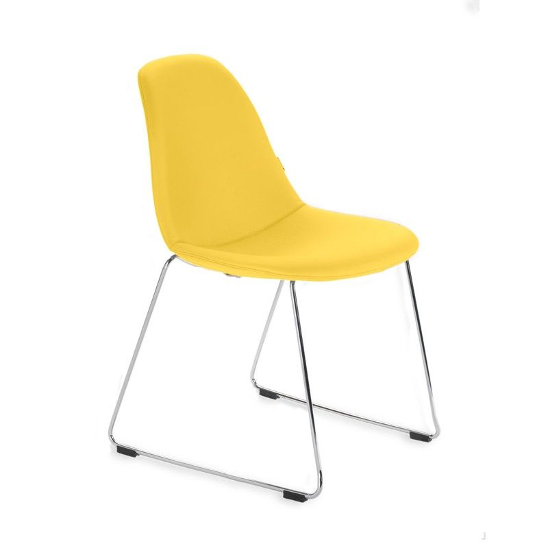 Yellow Leather Dining Room End Chairs Modern Dining Side Chairs