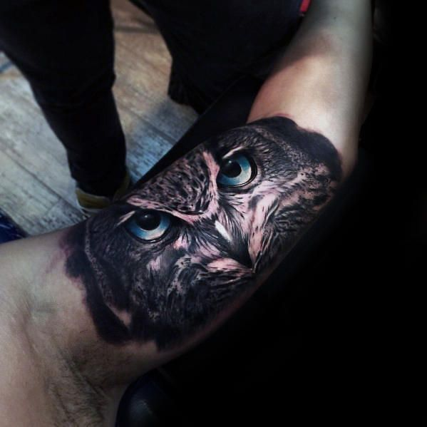 40 Realistic Owl Tattoo Designs For Men Nocturnal Bird Ideas In 2020 Owl Eye Tattoo Owl Tattoo Realistic Owl Tattoo