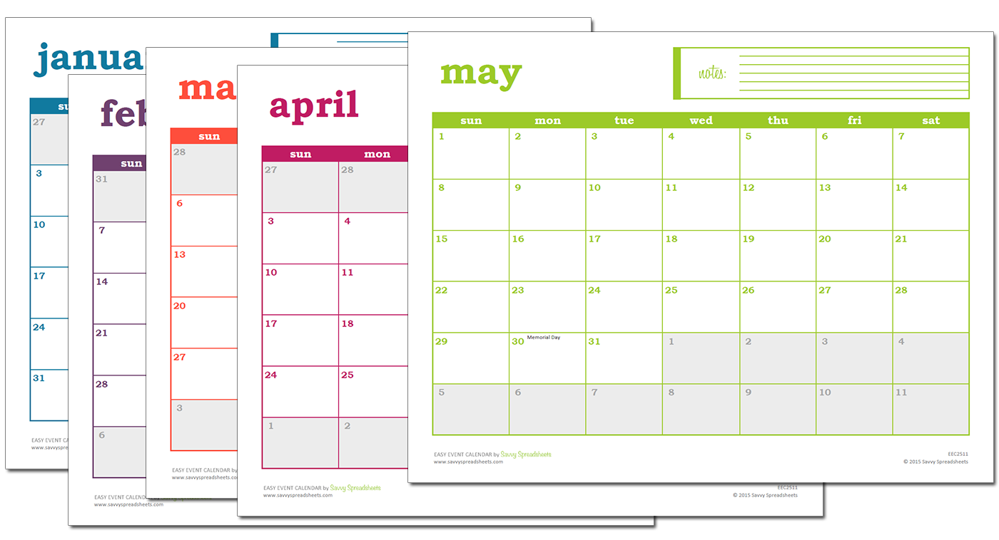 Free Excel Calendar  Excel Template  Event Calendar And Template