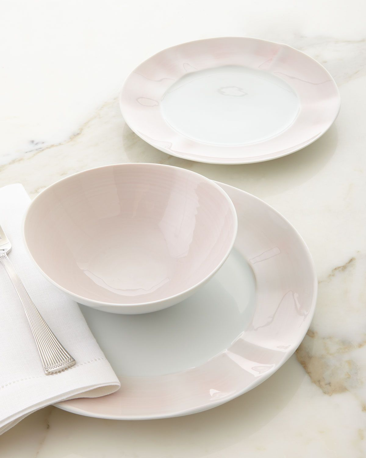 12-Piece Pink Brushstroke Dinnerware Service : dinnerware service for 12 - pezcame.com
