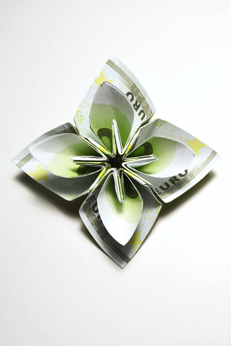 Amazing Money Euro Flower Origami Tutorial Diy Folded No Glue