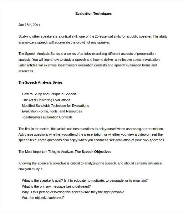 toastmasters Speech Evaluation form