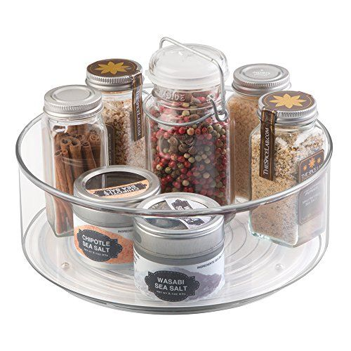 Wonderful MDesign Lazy Susan Turntable Spice Organizer Bin For Kitchen Pantry,  Cabinet, Countertops   Clear