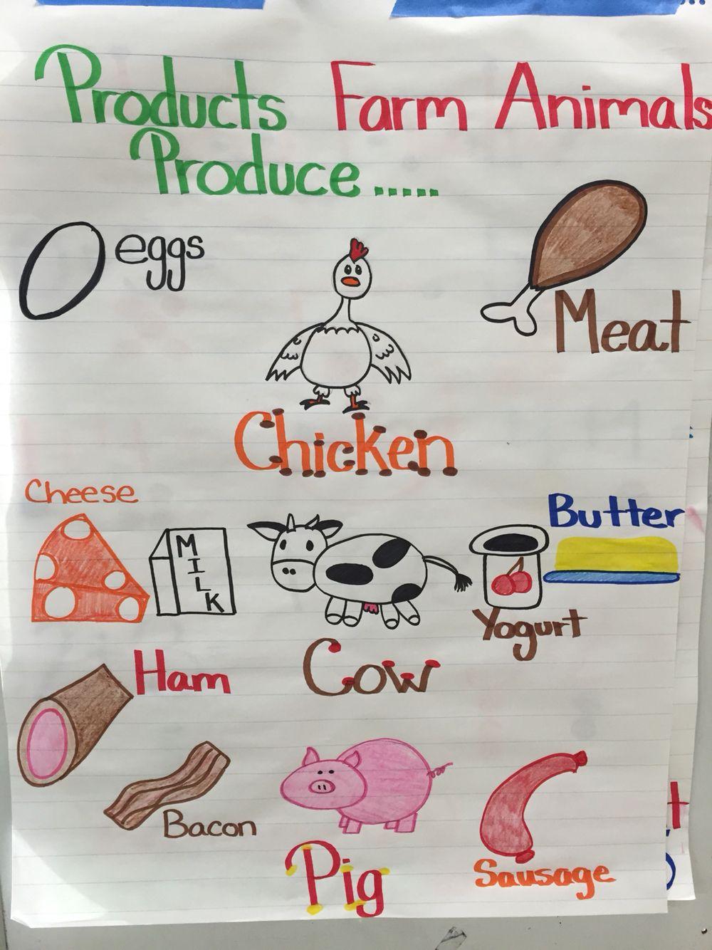 Anchor chart. What farm animals produce. Prek Farm