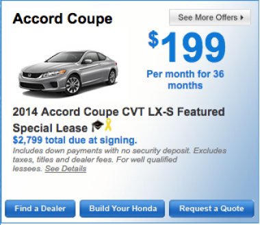 2014 Honda Accord Coupe CVT LX S Lease Special