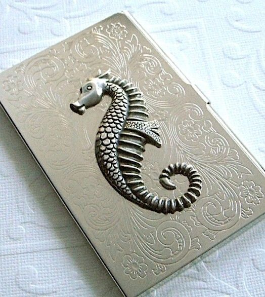 Seahorse business card holder art deco gothic victorian silver business card holder seahorse art deco gothic victorian silver plated metal vintage colourmoves Choice Image