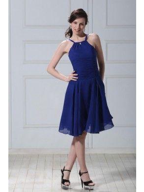 Classic A-line Halter Knee-length Chiffon Homecoming Dress SAL1753-TB