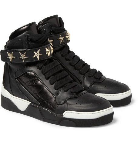 Givenchy Star-Detail Leather High Top Sneakers