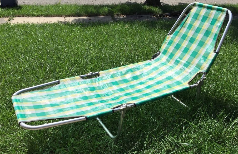 Exceptionnel Vintage Aluminum Folding Lounge Chair Cot Chaise Lawn Chair Beach Camping