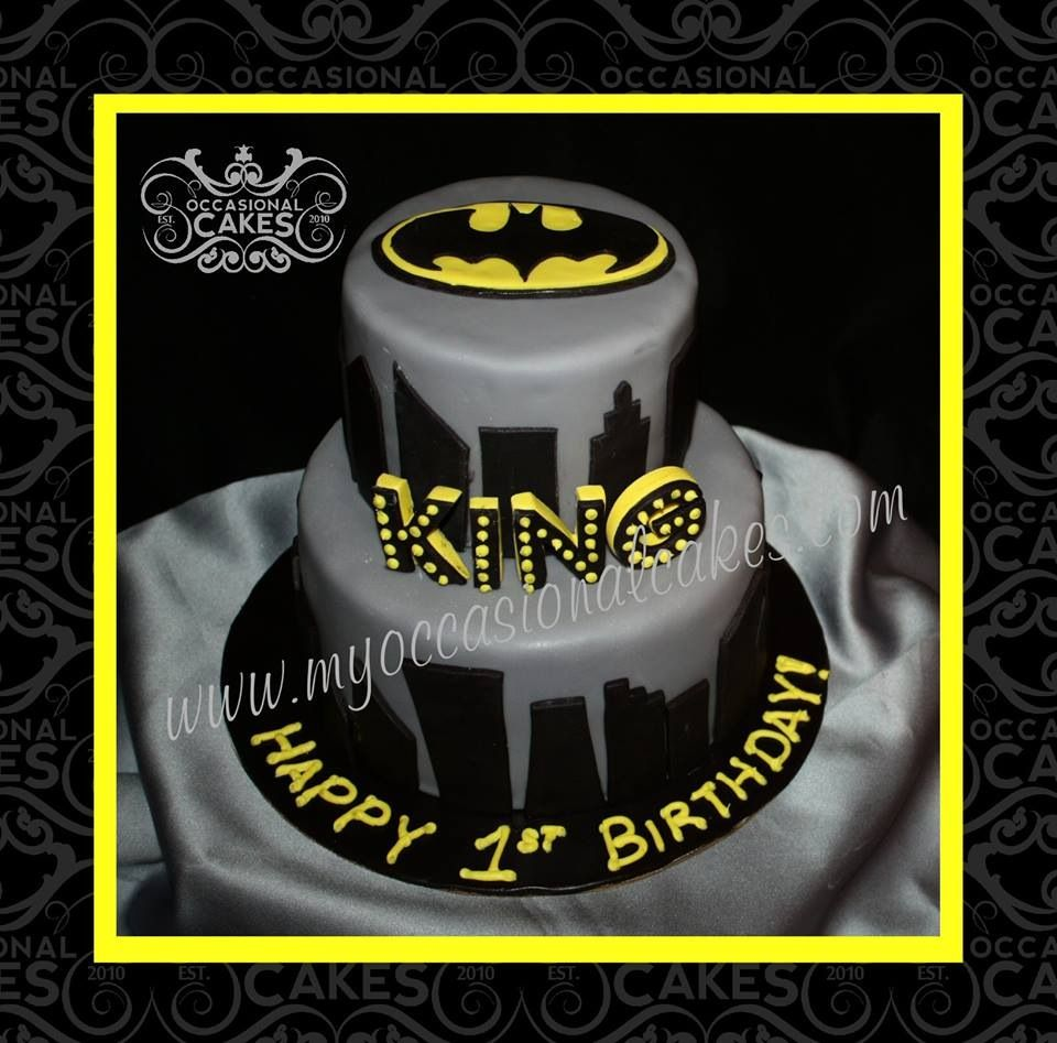 Batman themed 1st birthday cake