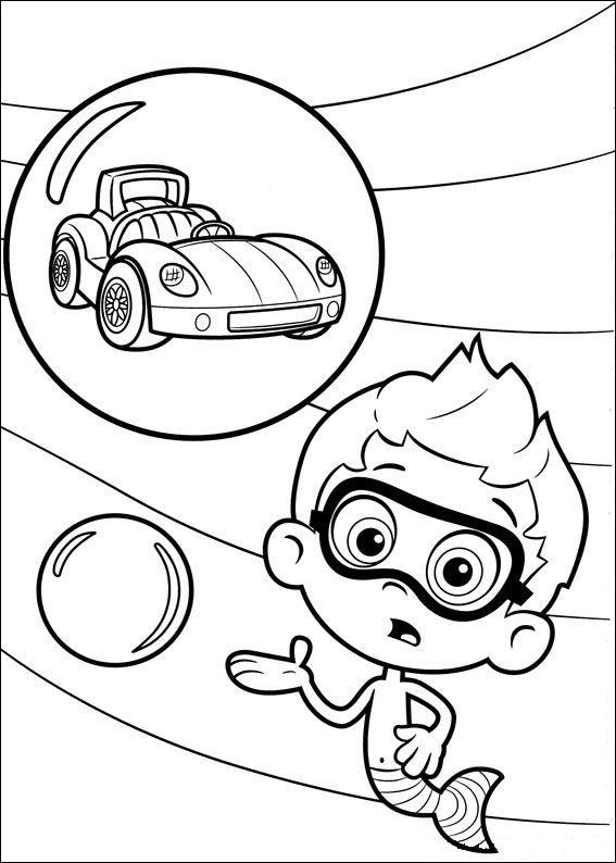 kleurplaat Bubble Guppies - Nonny en raceauto ...