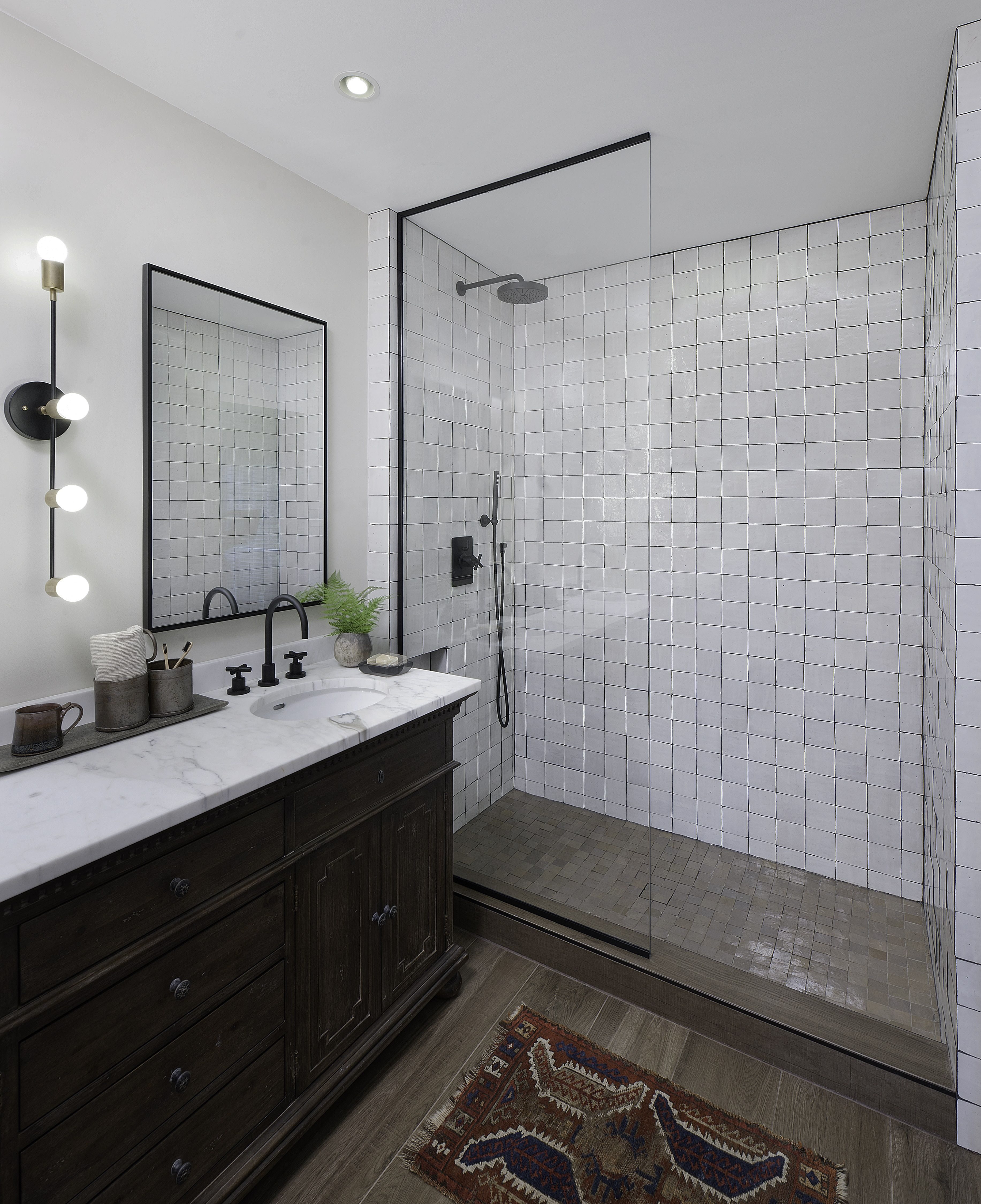 Weathered White Zellige 4 X4 X3 8 In 2020 Modern Farmhouse Bathroom Contemporary Grey Bathrooms Bathroom Layout