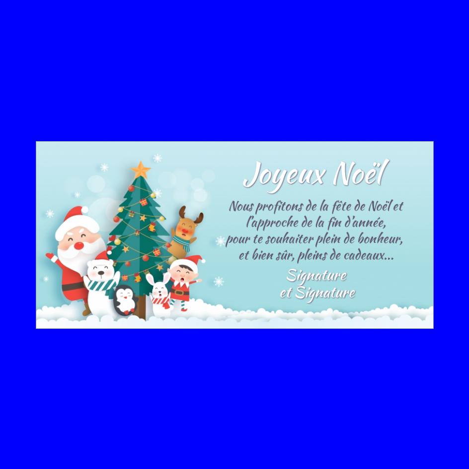 Carte Joyeux Noel à Imprimer Gratuit Pere Noel Et Compagnons Près Du Sapin Modèles De Cartes De Noël Cartes De Noël à Imprimer Carte Noel